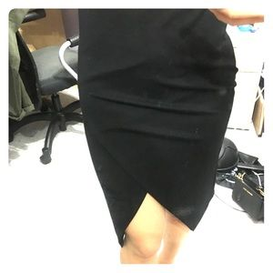 Black knee-length tulip skirt